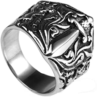 Jewelry Stainless Steel Vintage Punk Rock Men Silver Sword Ring 6MM