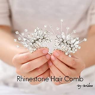 Brishow Wedding Hair Comb Silver Rhinestone Crystal Bridal Headpiece Accessories for Bride(Pack of 2)