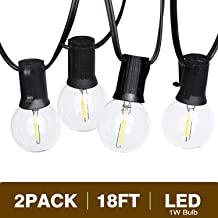 Svater Globe Led String Lights 2x18FT 10 Hanging Socket with 2x10 G40 Vintage LED Bulbs 1W 2700K Warm White No Dimmable IP45 Waterproof Indoor/Outdoor Light String for Backyard Market Cafe Porch