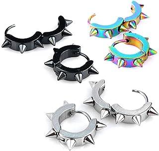 JOVIVI Men Women Jewelry Stainless Steel Hoop Spike Punk Earring,3 Pairs