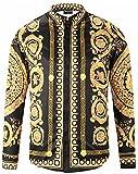 Pizoff Herren Luxus Langarm Hemden mit Baroque-Motiven,Y1792-18,XXL