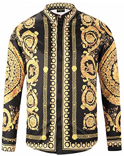 Pizoff Herren Luxus Langarm Hemden mit Baroque-Motiven,Y1792-18,Large