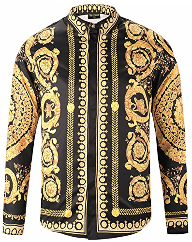 PIZOFF Mens Long Sleeve Luxury Gold Floral Print Dress Shirt Y1792-69-S