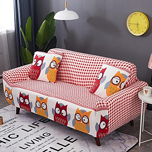 Funda Sofas 2 y 3 Plazas Búho De Dibujos Animados De Color Fundas para Sofa con Diseño Universal,Cubre Sofa Ajustables,Fundas Sofa Elasticas,Funda de Sofa Chaise Longue,Protector Cubierta para Sofá