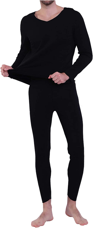 Elonglin Men's Ultra Soft Thermal Underwear Set Long Sleeve Top & Long John Set