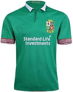 ラグビージャージポロメンズブリティッシュアイリッシュライオンズラグビー半袖Tシャツ 通気性ポリエステルラグビートップ 刺繍ラグビースポーツウェア ユニセックス S-3XL (Color : Green, Size : L)