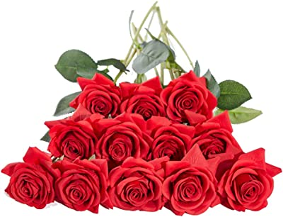 Amajoy 20PCS Red Artificial Rose Single Stem Silk Rose with Leaves Realistic Blossom Flora for Bridal Bouquets Home Garden Decoration