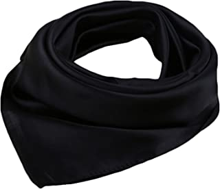 Women's Solid Stain Charmeuse Neckerchief Square Scarf 23