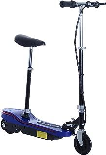 HOMCOM ESAA1-048BU0731 Scooter Eléctrico con LED, Monopatín Patinete Plegable Manillar Asiento Ajustable, 120W Carga 50kg, Acero Azul