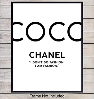 COCO Chanel Fashion Designer Typography Art Print - Chic Modern Home Decor for Bedroom, Living Room, Bathroom, Office - Perfect Gift for Women, Fashionistas - 8x10 Photo- Unframed