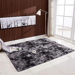 Decdeal Ultra Soft Tie-Dye Style Gradient Color Carpet Floor Bedroom Mat Rectangle Shape Fluffy Rug for Living Room Bedroo...