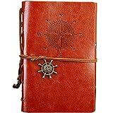 Cuaderno de Piel CHEPL Cuaderno de Viaje Vintage Cuaderno Diario Pirata del Vintage Anillo de Anclaje Insertos Cuerda Atada Rellenable Bloc Notas (Marrón)