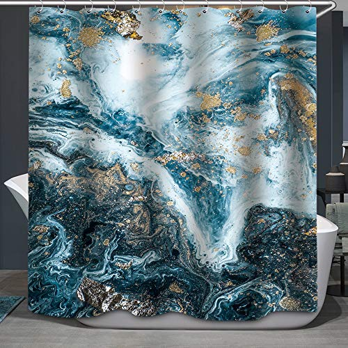 Fabric Shower Curtain, Abstract Marble Luxury Ocean Art Ripples Beautiful Blue Paint and Gold Powder Polyester Designer Cloth, Print Decorative Bathroom Curtains Include Hooks Set(72〃w by 72〃L) (04)
