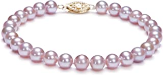 Lavender 6-6.5mm AA Quality Freshwater Gold filled Cultured Pearl Bracelet For Women