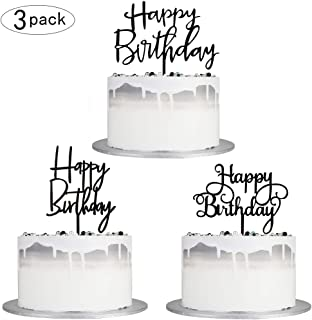 Autude Black Happy Birthday Cake Topper Set, Double-Sided Acrylic Happy Birthday Cake Toppers /Cupcake Toppers for Children or Adults (3 pieces)