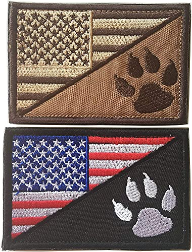 USA American Flag w/Dog Tracker Paw Embroidered Applique Morale Hook & Loop Patch (Bundle 2pcs Red/Brown)