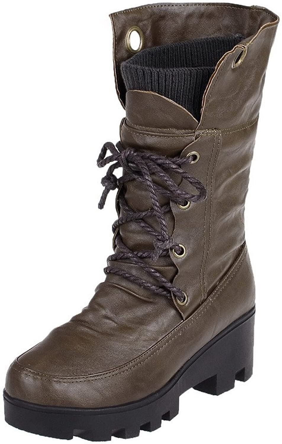 WeiPoot Women's Soft Material Lace up Round Closed Toe Kitten Heels Solid Boots