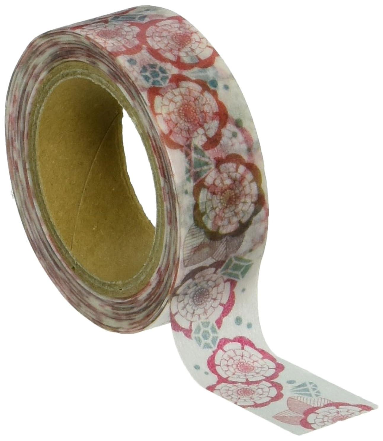 Roundtop Designer's Washi Masking Tape 20mm x 10m, Azzurro Mattina, Flower & Gems (YS-MK-004)