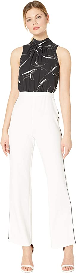 Sleeveless Jumpsuit with Stretch Knit Crepe Pants and Printed Chiffon Halter top
