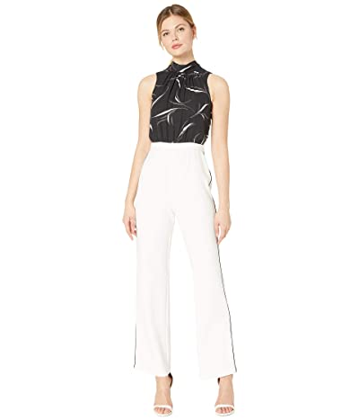 Donna Morgan Sleeveless Jumpsuit with Stretch Knit Crepe Pants and Printed Chiffon Halter top (Black/Ivory) Women