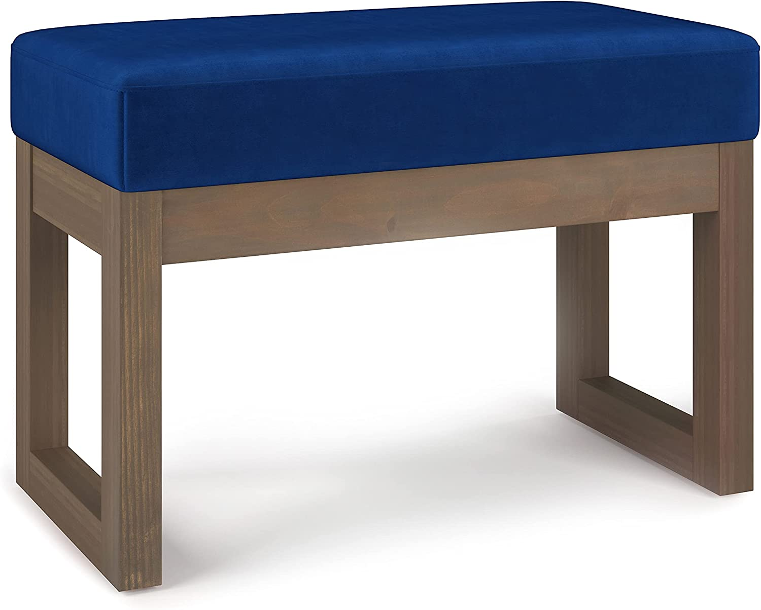 SIMPLIHOME Milltown 26 inch Wide Contemporary Rectangle Footstool Ottoman Bench in Blue Velvet, for Living Room, Bedroom