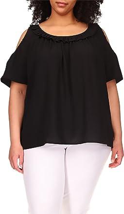 Plus Size Short Sleeve Cold Shoulder Top