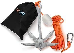 BeGrit 1,5Kg Anker Faltanker verzink Ankerset mit 10m reißfesten Ankerleine ø 6 mm & Ankerboje Kugel Set