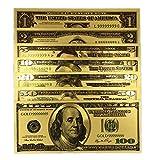 YUY 7PCS USD 1/2/5/10/20/50/100 Conjunto Completo De Dólares De Oro Billete De Oro Colorido,Gold