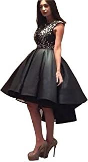 c4fd0688bf Dimei Black High Collar Satin Prom Dress Women s High Low Cap Sleeves  Formal Evening Dress