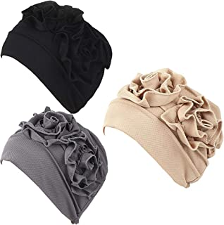 3Pack Womens Chemo Hat Beanie Turban Headwear for Cancer Patients