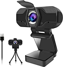 Webcam for PC, 1080P Webcam with Microphone USB Web Camera with Privacy Cover for Desktop/Mac/Laptop/Computer, Streaming Webcams Video Camera with Flexible Clip and Tripod for Video Calling Recording
