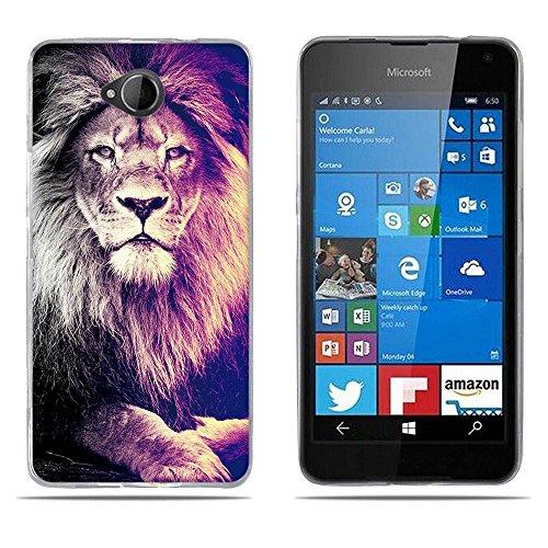 FUBAODA Funda para Nokia Lumia 650 de Silicona,Ultra Suave con Protectora,Rey Leon, Trasera,Funda para Nokia Lumia 650(5.5