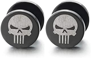 2 Mens Silver Black Punisher Skull Stud Earring, Steel Cheater Fake Ear Plugs Gauges Illusion Tunnel