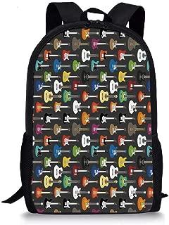 Guitar Stylish School Bag,Grunge Instruments Strings Creativity Writing Songs Digital Classic Acoustic Music for Boys,11''L x 5''W x 17''H