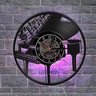 クリエイティブ ビニールレコード壁掛け時計 アートデザイン ナイトライトウォールクロック サイレントクォーツ機構 リモコン付き,B