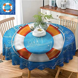 Buoy Polyester Fabric Round Table Cloth Kitchen Dinning Tabletop Decoration Palm Tree Island Octopus Seasonal Round Tablecloth Everyday Use - 66