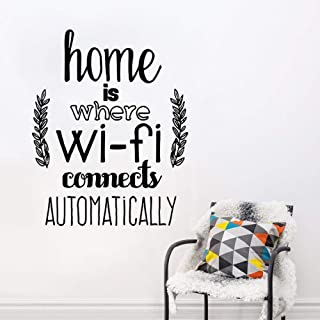 Poesr Removable Vinyl Wall Stickers Act Mural Decal Art Home Decor Home Home is Where WiFi Connected Quote Living Room Family Love Design