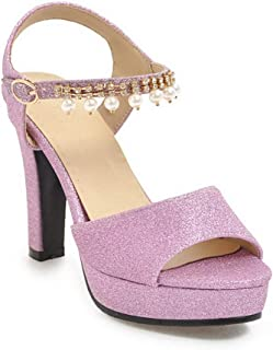 BalaMasa Womens ASL06526 Pu Platform Heels