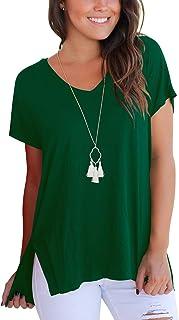 Aokosor Women's Short Sleeve High Low Loose T Shirt Basic Tee Tops with Side Split