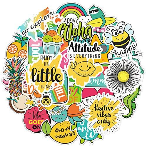 Cute Vsco Stickers [57PCS]- Positive Lovely Trendy Aesthetic Vinyl Sticker for Laptops Hydro Flasks Water Bottle Hydroflasks Phone Case Skateboard, Good Vibes Sloth Stickers for Kids, Teens Visco Girs