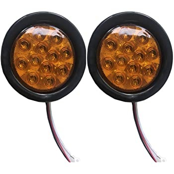 Pack of 4 4 Inch Round 2 Amber 2 Red Super Flex F3 Sealed Clearance Marker Flash Light 12 LED Turn Tail Fog w//Plug /& Rubber Truck Trailer Tow ATV Jeep Van Camper RV 12v DC Universal GA12 5559076812 Meerkatt