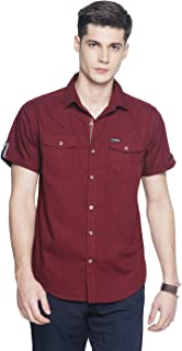 OJASS Men Solid Casual Maroon Shirt ()