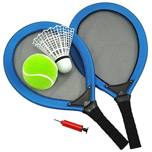 Best Sporting Jumbo-Tennis-Set, 2 Schläger, 1 Federball, 1 Tennisball, Ballpumpe, blau oder rot, Farbe:blau