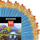 BOSOBO Pointed-Round Paint Brushes, 8 Sets of 10 Pieces Fine Tip Nylon Hair Miniature Paint Brushes for Acrylic Oil Watercolor Gouache, Artist Face Nail Body, Paint by Numbers, Model Craft & Rock Art