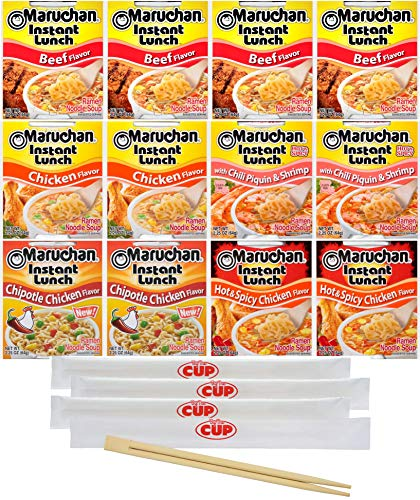 Maruchan Ramen Instant Lunch Variety, 12 Count, 5 Flavors with By The Cup Chopsticks