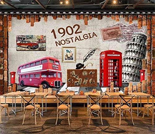 3D Custom Wallpaper Retro Bus Alternative Ranking TOP18 dealer Phone Street Silk Brick Booth Wall