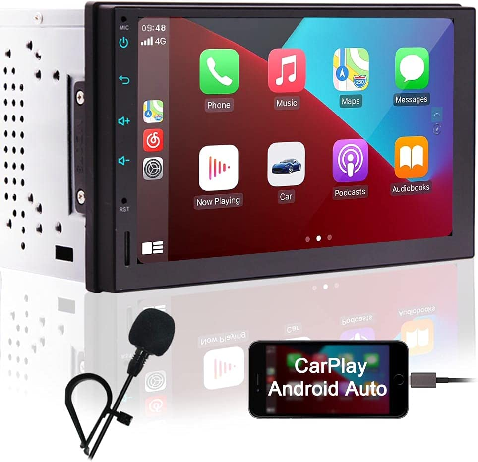 Double Din Car Stereo with Bluetooth Compatible with Apple CarPlay and Android Auto 7 Inch Touch Screen Car Radio with GPS Navigation Indash Car Audio Receivers Support FM AM RDS WiFi Backup Camera in