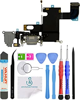 OmniRepairs Charging Port Dock with Microphone Cellular Antena and Headphone Audio Jack Replacement Compatible for iPhone 6 Model (A1549, A1586, A1589) with Repair Toolkit (Black/Space Gray)
