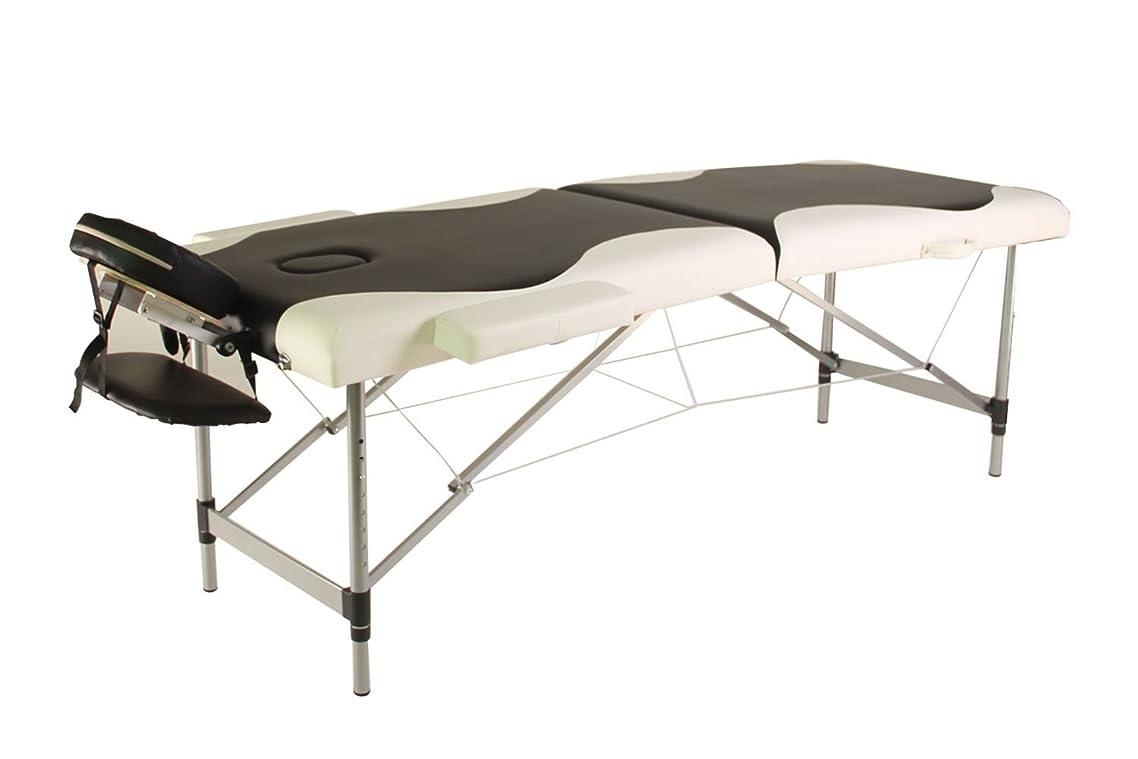 Mcombo Portable Aluminum 2 Fold Massage Table Facial SPA Bed Tattoo w/Free Carry Case - Black/White
