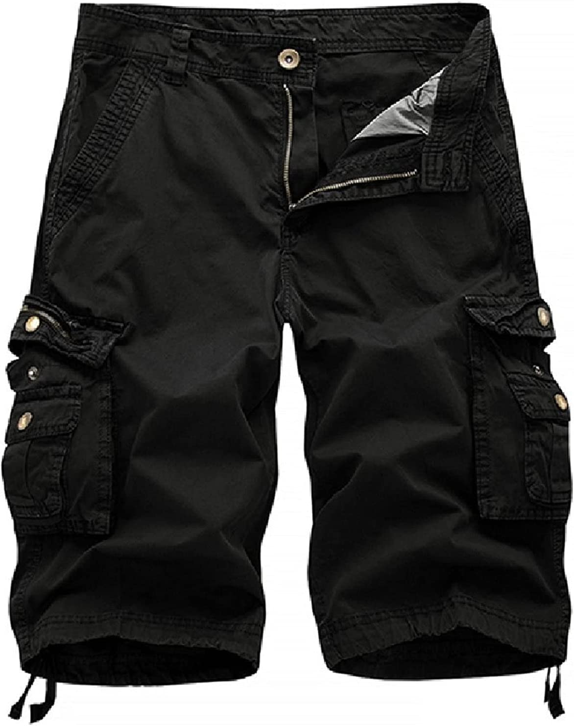 Outdoor Twill Cargo Shorts for Men Casual Summer Lightweight Outdoor Shorts Relaxed Fit Stretchy Multi-Pocket Shorts (Black,31)
